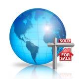 For Sale - World. Digital illustration of For Sale sign in front of World stock illustration
