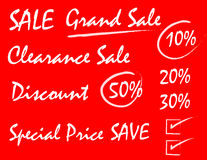 Sale writing style on red background Stock Photos