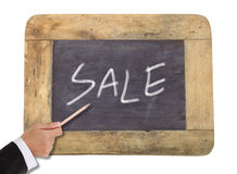 Sale written on blackboard Stock Photo