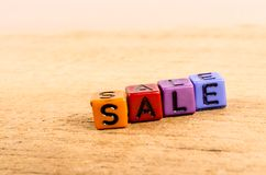 Sale written with cube Royalty Free Stock Images