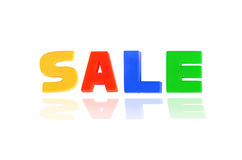 SALE written In Multicolored Plastic Kids Letters Stock Photos