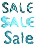 SALE written in three styles, made of blue glass/liquid. 3D render. Royalty Free Stock Image
