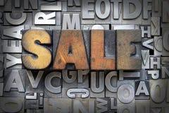 Sale. Written in vintage letterpress type royalty free stock images