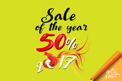 Sale of the year. Vector illustration of rooste Stock Photography