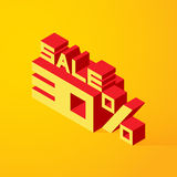 Sale 30% on yellow background. Vector illustration in 3D isometric style Royalty Free Stock Image