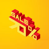 Sale 70% on yellow background. Vector illustration in 3D isometric style Stock Image