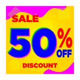 SALE YELLOW BLUE 10% 20% 30% 40% 60% DISCOUNT-05 stock illustration