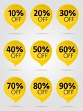 Sale yellow label collection. Special offer sale yellow tag isolated  illustration. Discount offer price label, symbol for advertising campaign in retail, sale Royalty Free Stock Photo