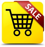 Sale yellow square button red ribbon in corner Royalty Free Stock Photos