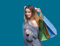 Sale. Young woman with shopping bags Stock Photos