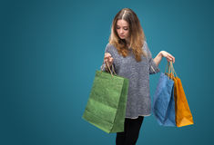 Sale. Young woman with shopping bags Royalty Free Stock Image