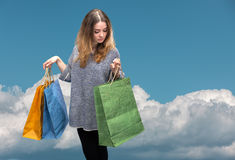 Sale. Young woman with shopping bags Stock Photography