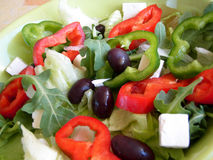 Saled mixed. Salad mixed con red and green  peppers and olives Stock Photo