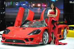 Saleen S7,Super run,red,Beautiful car models. California Saleen company production of SaleenS7TwinTurbo, is currently the world's most expensive speed of the Royalty Free Stock Photo