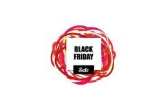 Salelabel de Black Friday avec le blanc pour des rubans de conception et de colorfull des textes sur le fond Images stock