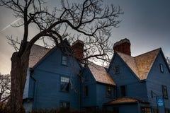 Salem, de V.S. 03 Maart, 2019: Het Huis van het Zeven Geveltoppenmuseum in Salem, Massachusetts dat de roman door Amerikaan inspi stock afbeeldingen