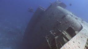 Salem Express ruiniert den Underwater, der oben im Roten Meer in Ägypten nah ist stock footage