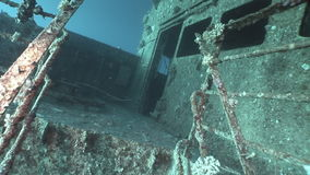 Salem Express shipwrecks underwater in the Red Sea in Egypt. Extreme tourism on the ocean floor in the world of coral reefs, fish, sharks. Researchers of stock footage