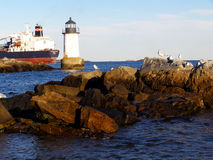 Salem Lighthouse. Lighthouse on the coast, Salem, Massachusetts. Tanker in distance Stock Image