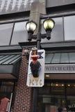 Salem, mA, il 1° giugno: Strega che appende sulla miniatura della colonna da Salem nello stato della contea di Essex Massachusett Fotografia Stock Libera da Diritti