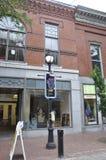 Salem, MA, 1st Czerwiec: Czarownica na filar miniaturze od śródmieścia Salem w Essex okręgu administracyjnego Massachusettes stan Fotografia Stock