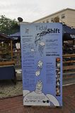 Salem, MA, 1st June: Signboard of Tidal Shift Festival from Salem in Essex county Massachusettes state of USA royalty free stock images