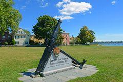 Salem Maritime NHS, Salem, Massachusetts. Salem Maritime National Historic Site NHS entrance with replica anchor in Salem, Massachusetts, USA Stock Image