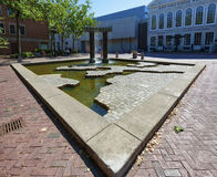 Salem Massachusetts Maritime Fountain. Salem, Massachusetts,USA - September 14, 2016: A fountain that shows the growth of Salem through its maritime trade with Royalty Free Stock Photos