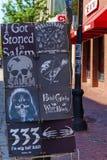 Salem Massachusetts Street affischbräde royaltyfri bild