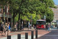 Salem Massachusetts, tourists and trolley bus Royalty Free Stock Photo