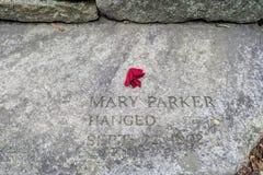 Salem Massachusetts Witch Trials Memorial-Park lizenzfreie stockbilder