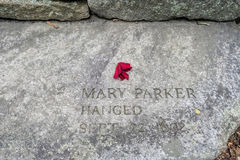 Salem Massachusetts Witch Trials Memorial Park. Salem, Massachusetts,USA - September 14, 2016: Mary Parker is one of 20 memorial slabs located in a tiny memorial Royalty Free Stock Images