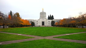 Salem Oregon Capital Building Static Shot Fall Season. Green grass and birds frolic in front of the captial building Salem Oregon stock video