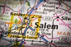 Salem, Oregon sulla mappa Fotografie Stock