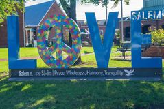 Love Sign on display in Downtown Salem. Virginia, USA. Salem, VA – September 29th: The love sign in front of local library located in downtown Salem stock photo