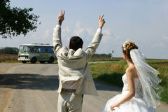 Salen los dans que el la compite a apres le mariage Foto de archivo libre de regalías