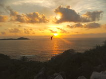Salendo sopra le Seychelles Immagini Stock