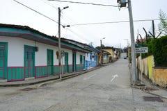 Salento,哥伦比亚殖民地镇的街道  免版税库存照片