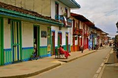 咖啡哥伦比亚生活区域salento街道 库存照片