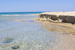 Salento beach, foreshore. Sea of Salento, clear water Royalty Free Stock Image