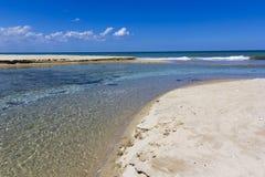 Salento beaches, crystalline waters. White sand of Salento. Adriatic Sea, Lecce Royalty Free Stock Photo