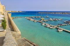 Salento coast: panorama of the port of Otranto.ItalyApulia. Stock Photo