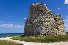 Salento, coastal tower. Salento, Torre Chianca: coastal tower crumbling Stock Photo
