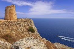 The most beautiful coasts of Italy:Salento seascape Apulia. Salento coastline: Minervino watchtower. This medieval ruin is located in The Otranto Santa Maria di royalty free stock photo
