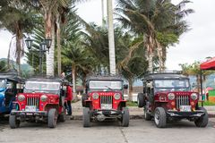 Red Willys Jeeps in Colombia Royalty Free Stock Photo