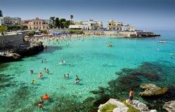 Salento, South Italy beach. Lecce, Italy-July, 2012: The popular beach of the resort town Santa Maria al Bagno Stock Photos