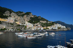 Salerno Gulf with Boats Anchored and Moored in Italy Royalty Free Stock Photos