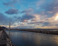 Amazing sunset in Salerno, Italy. royalty free stock image