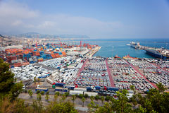 SALERNO, ITALY - July 22, 2015: Salerno Harbour with containers, Royalty Free Stock Photography