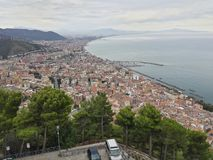 Salerno. Landscape taken from the hill of the city'sea of Salerno destination for both tourism stock photography